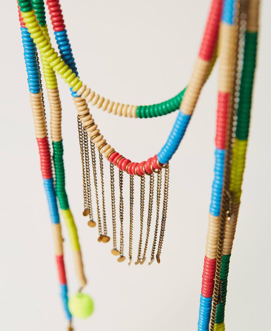 """Collana con perline e frange Multicolor Giallo """"Led"""" / Rosa """"Neon"""" Donna 211TO501F-02"""