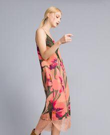 Robe nuisette en crêpe georgette imprimé Imprimé Rose Grande Tulipe Femme TA828U-02
