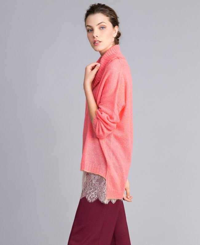 Maglia in mohair con top in pizzo Rosa Royal Pink Donna PA836F-03