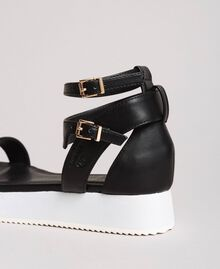 Sandales à plateforme avec lanière Noir Femme 191LL49FF-03