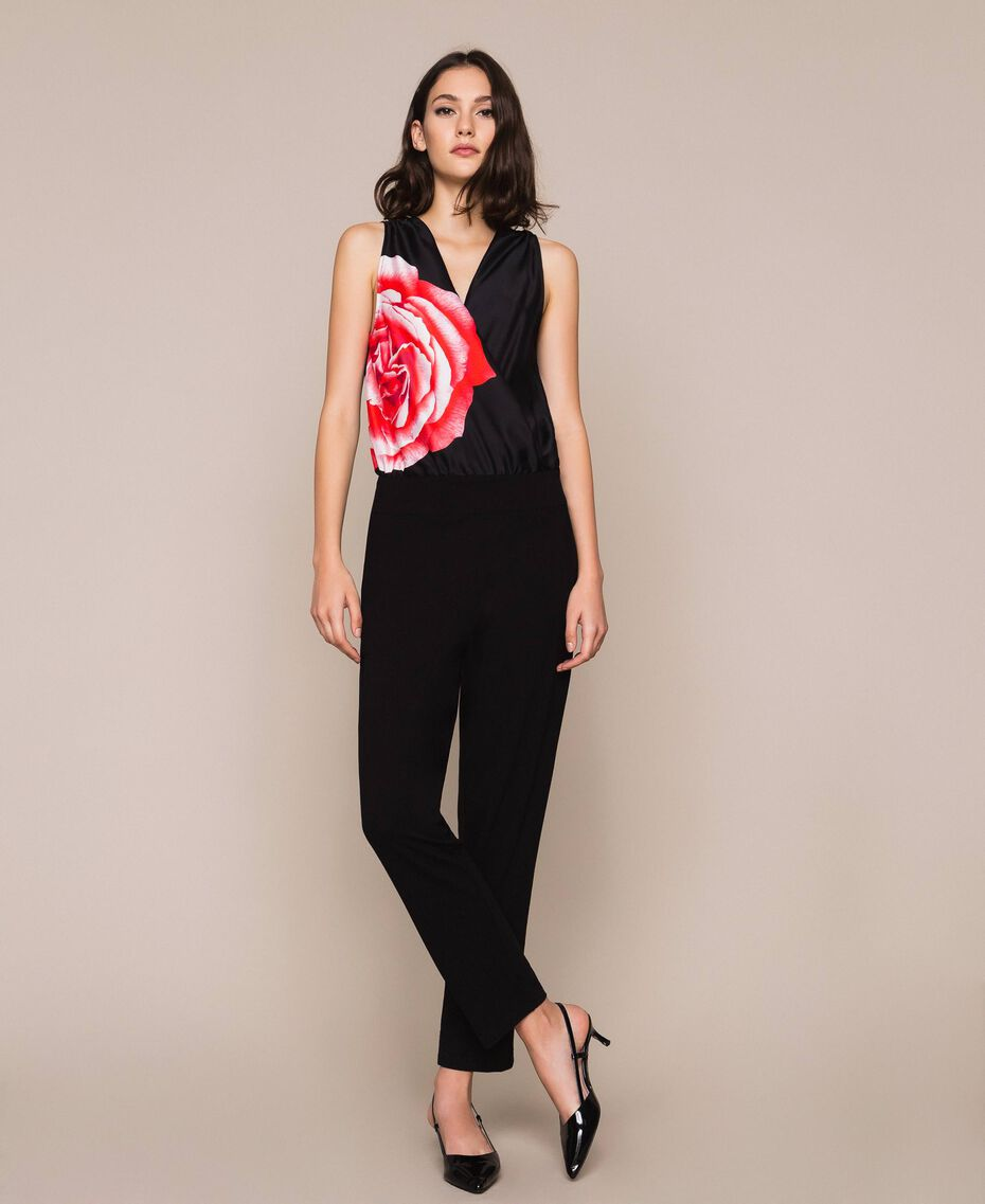 Satin jumpsuit with print Black Rose Print Woman 201LB28LL-01