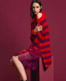 Gestreiftes Kleid aus Mohair mit Unterkleid Streifen Rote-Bete-Rot / Granatapfel Frau 192TP3270-04