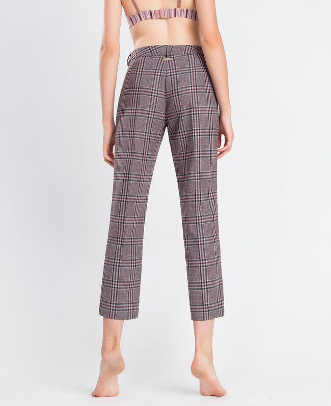 """Drainpipe trousers """"Reddish"""" Red Tartan Print Woman LA8NFF-03"""