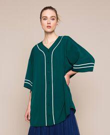 Maxi chemise en crêpe de Chine Émeraude Femme 201MP2080-01
