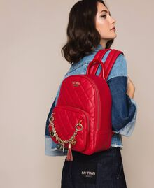Quilted faux leather backpack with charms Venetian Red Woman 201MA7042-0S