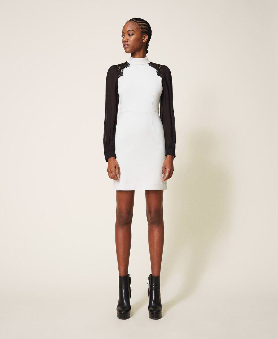 Sheath dress with lace Parchment White Woman 202TT2280-01