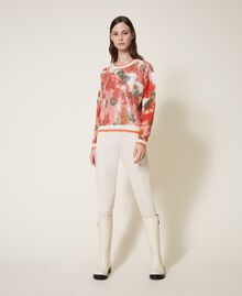 Mohair and wool jumper with sequins Ivory / Coral Dream Large Flower Print Woman 202TT3281-0T