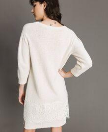 Robe en maille avec dentelle Blanc Neige Femme 191TP3200-03
