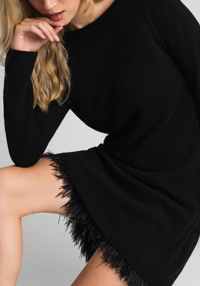 Cashmere blend dress with slip