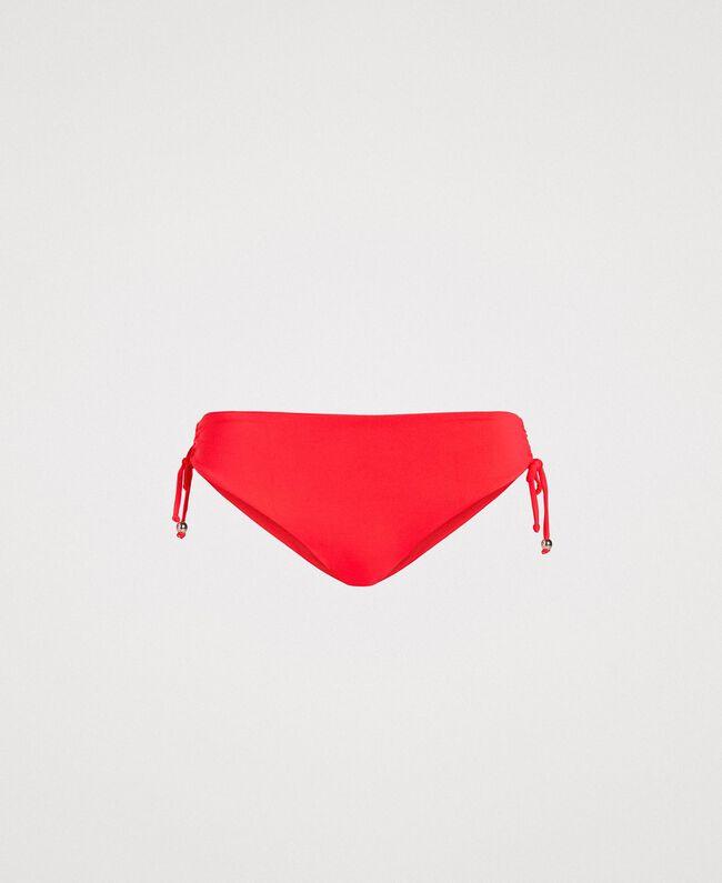 "Solid colour bikini bottom with drawstring ""Framboise"" Red Woman 191LMMR99-01"
