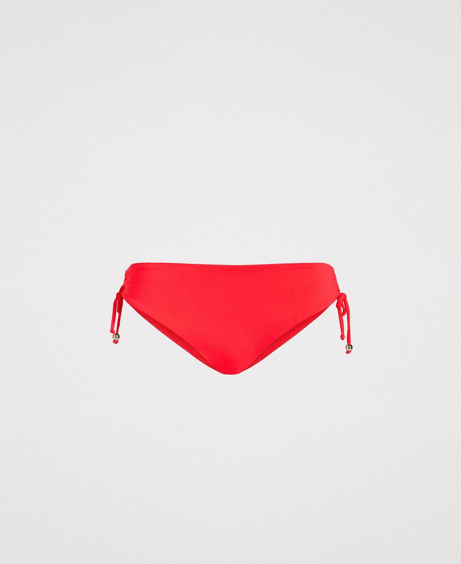 "Solid colour bikini bottom with drawstring ""Framboise"" Red Woman 191LMMR99-01"
