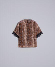 Blouse en mousseline de soie animalière Imprimé Chocolat Serpent Femme PA829B-0S