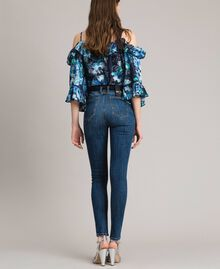 Grosgrain embroidered skinny jeans Denim Blue Woman 191MP2483-03
