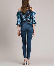 Jean skinny brodé avec gros grain Bleu Denim Femme 191MP2483-03