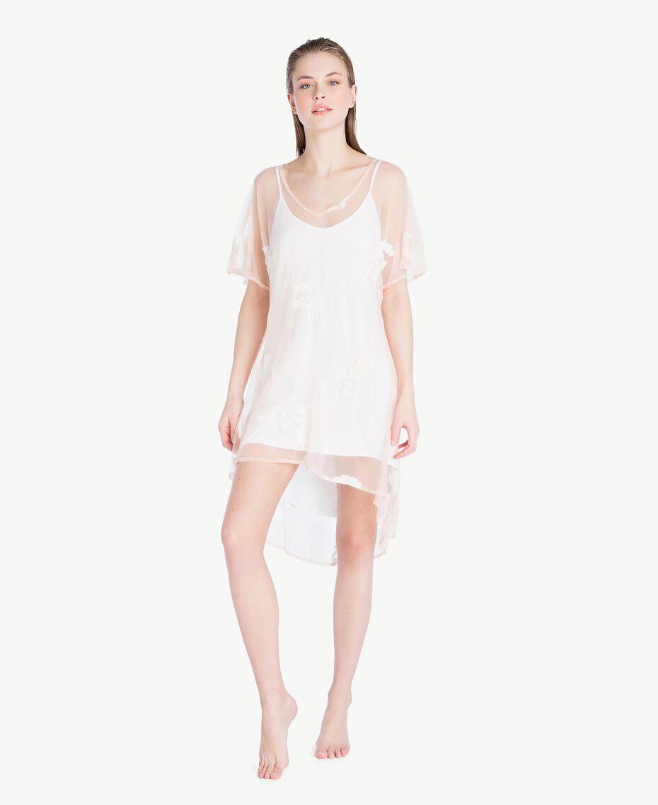 Kleid mit Stickerei Elfenbein Frau MS8BHH-02