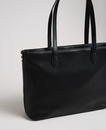 Borsa shopper in similpelle con cuori trapuntati Nero Donna 192MA7081-04