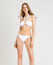 Bikinitanga mit Zierringen und Schleifen Schwarz Frau 191LBM288-0S