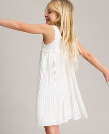Pleated georgette and lace dress Off White Child 191GJ2QA2-03