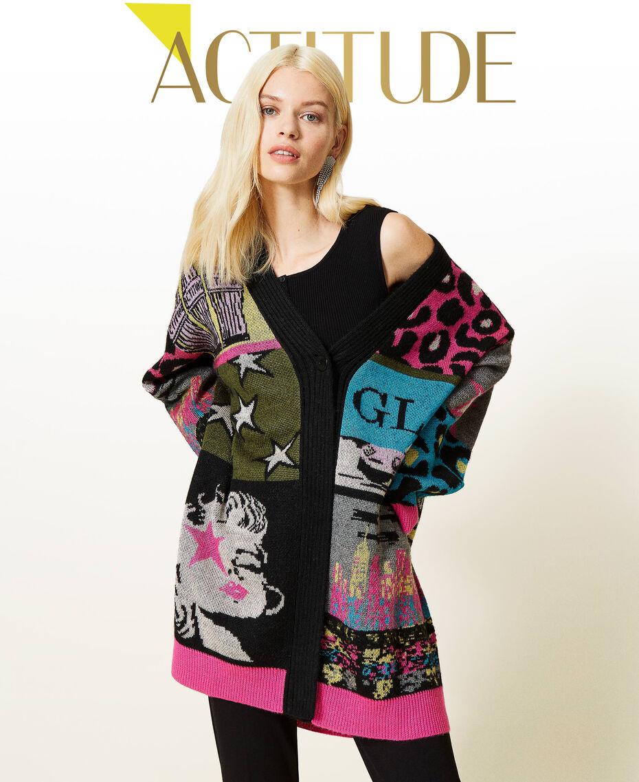 Jacquard wool blend cardigan Purple Berry Picture Jacquard Mix Woman 212AP3132-01