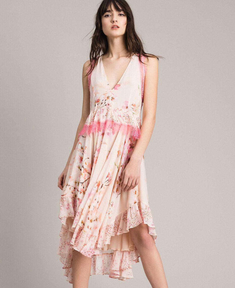 """Robe en georgette à motif floral avec dentelle Imprimé Rose """"Bouton De Rose / Peach Mix"""" Femme 191TP2712-01"""