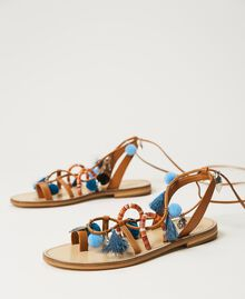 "Leather sandals with pompoms and charms ""Nautical Blue"" / ""Indigo"" Blue / Black Multicolour Woman 211TCT180-02"