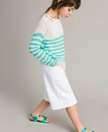 """Striped jumper and lace top """"Island Paradise"""" Light Blue / Off White Striping Child 191GJ3080-03"""