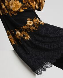 Printed wool maxi jumper with lace Black Baroque Flower Stripes Mix Print Woman 192TT3342-05