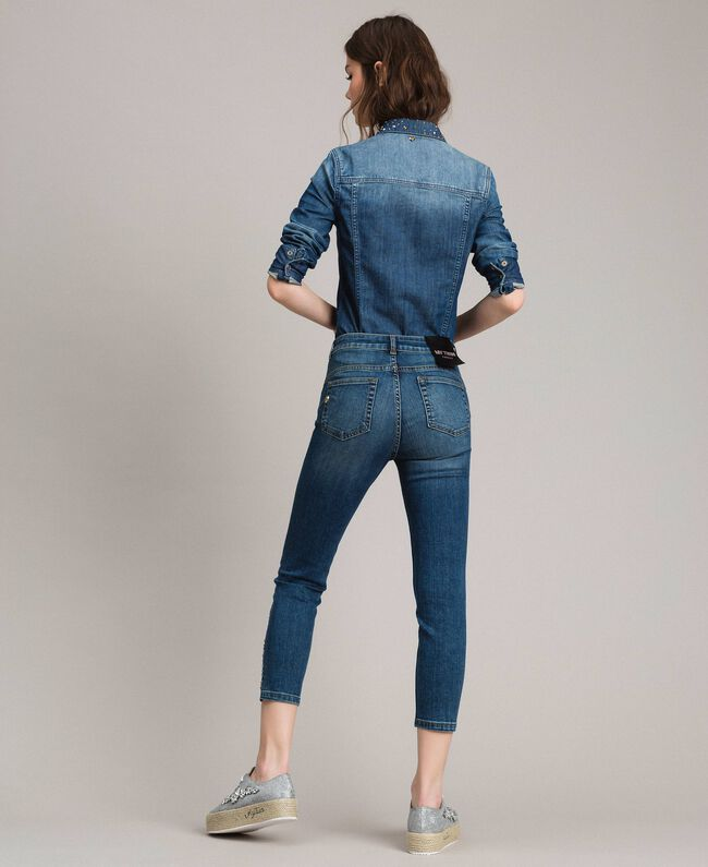 Skinny jeans with fadeout rhinestones Denim Blue Woman 191MP2421-04