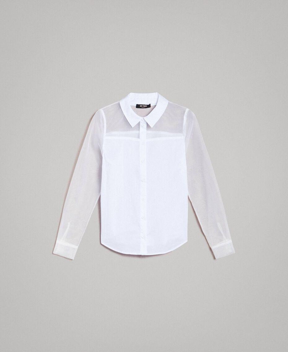 Organza und Popeline-Hemd Weiß Frau 191MT2301-0S