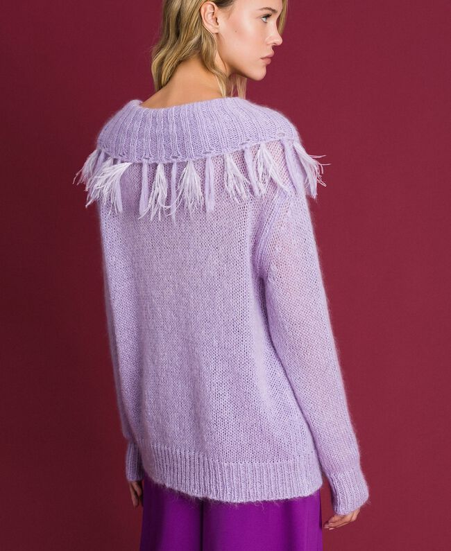 "Mohair jumper with feathers and fringes ""Pink Lavender"" Woman 192TT3276-04"