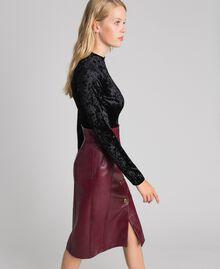 Jupe mi-longue en similicuir Rouge Velours Femme 192TT203B-02