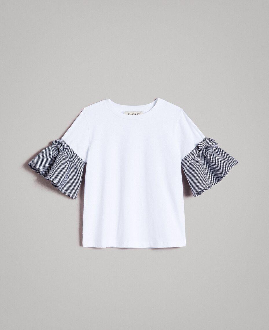 Maxi T-shirt in jersey con maniche Vichy Bicolore Bianco Ottico / Vichy Bambina 191GB2730-01
