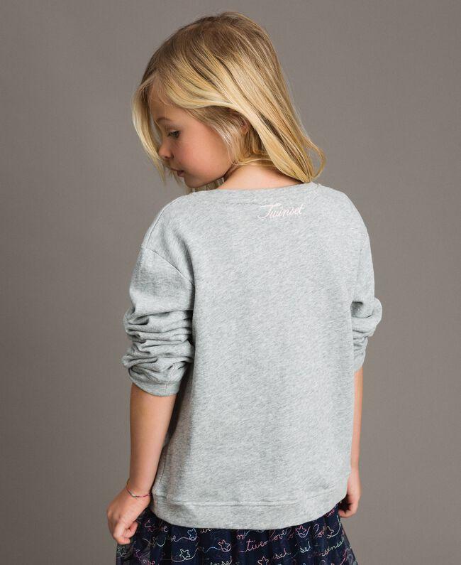 Sweat shirt en coton stretch avec broderies étoiles Gris clair chiné Enfant 191GJ2321-03