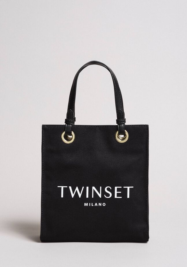 Small canvas shopping bag with logo