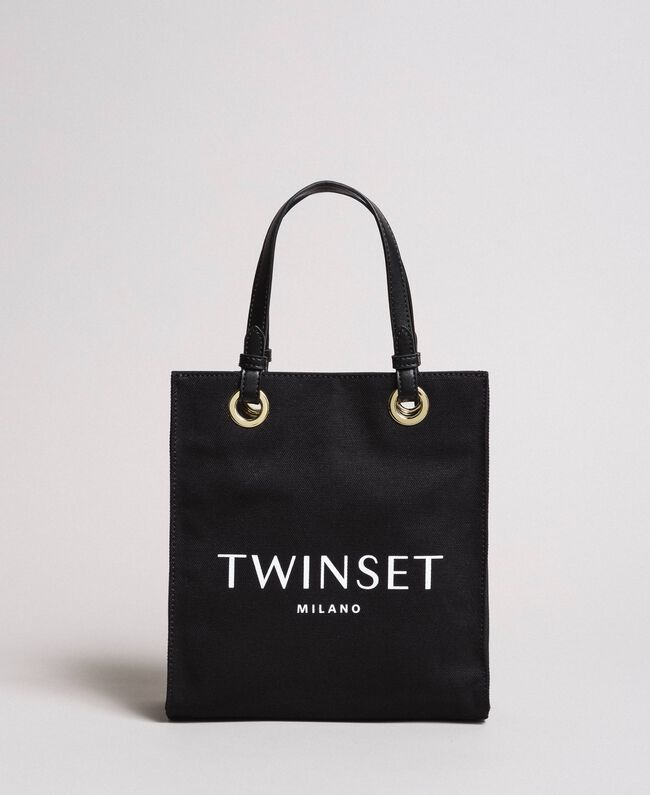 Small canvas shopping bag with logo Black Woman 191TA7611-01