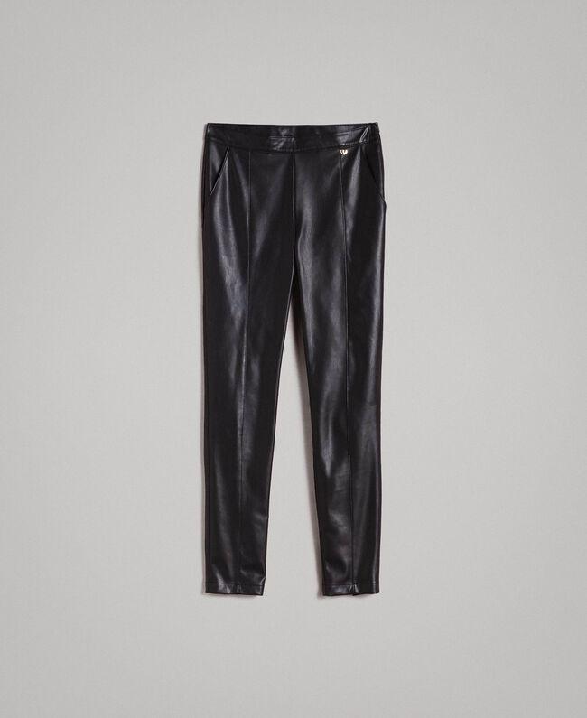 c71ae24981 Pantalones pitillo de piel sintética Negro Mujer 191MP2260-0S