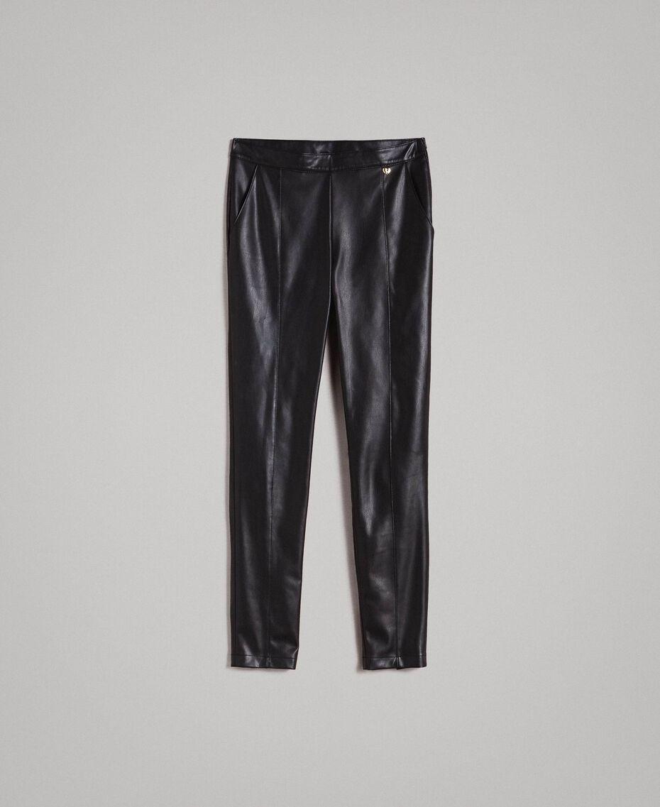 Skinny-Hose aus Kunstleder Schwarz Frau 191MP2260-0S