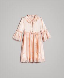 """Seiden-Satin-Kleid mit Spitzenbesatz """"Rose Sand"""" Pink Frau 191TT2010-0S"""