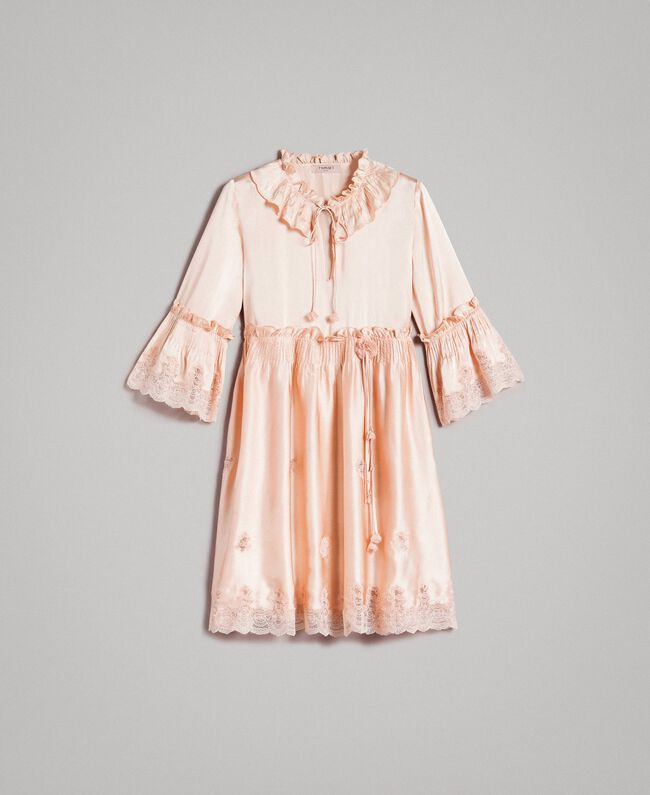 """Silk satin dress with lace trims """"Rose Sand"""" Pink Woman 191TT2010-0S"""