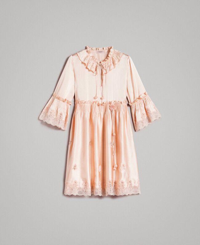 """Robe en satin de soie avec bordures en dentelle Rose """"Sable Rose"""" Femme 191TT2010-0S"""