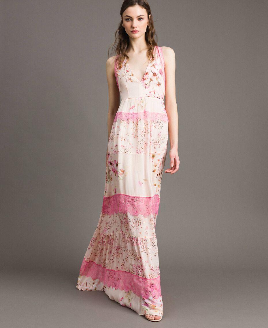 """Georgette-Maxikleid mit Blumenmuster Motiv """"Blossom / Peach Mix"""" Pink Frau 191TP2713-02"""