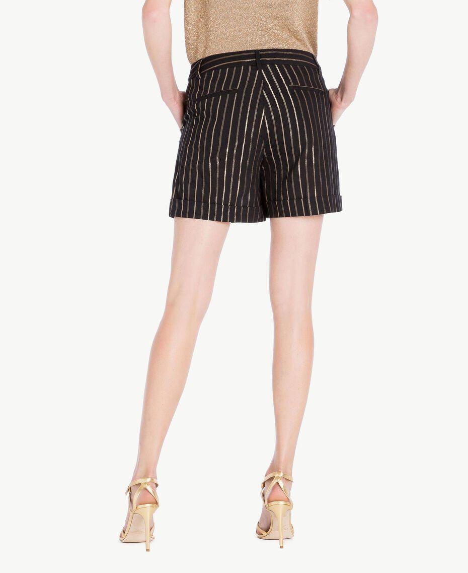 Shorts aus Jacquard Jacquard Schwarz / Goldene Streifen Frau TS82VE-03