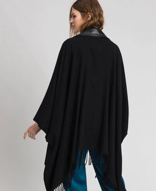 Fringed cape with double garment effect Black Woman 192MP2110-03