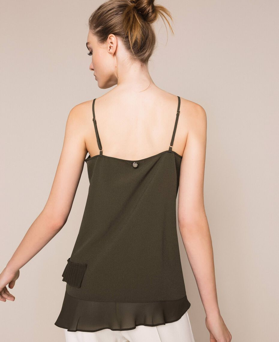 Crêpe de Chine top with pleated flounce Elm Green Woman 201ST2014-03