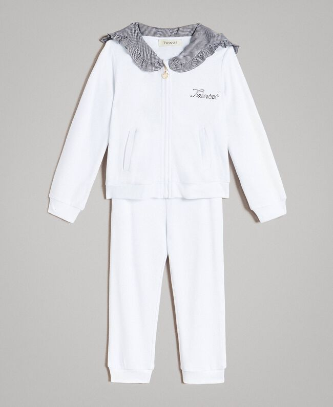 Survêtement en molleton avec détails en vichy Bicolore Blanc Optique / Vichy Enfant 191GB2210-01