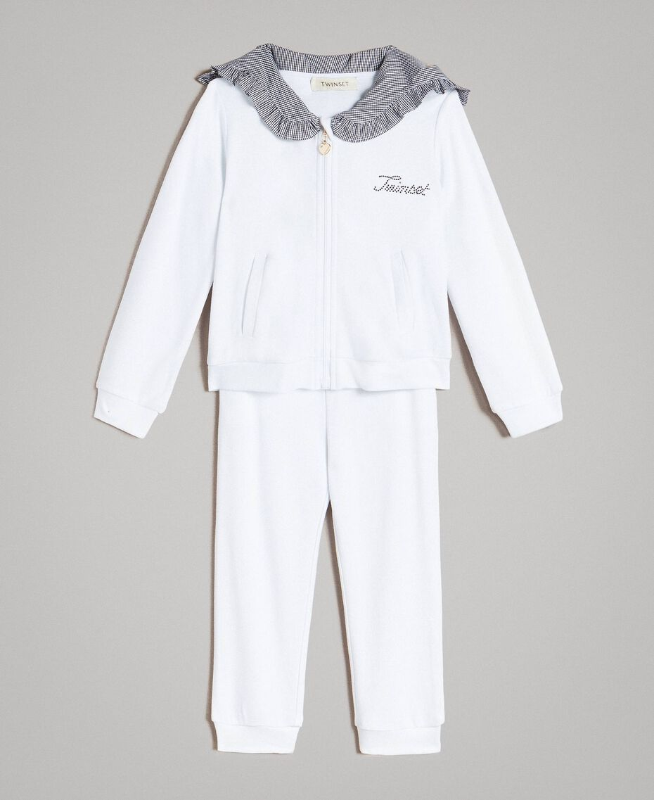 Fleece tracksuit with gingham details Two-tone Optical White / Gingham Child 191GB2210-01