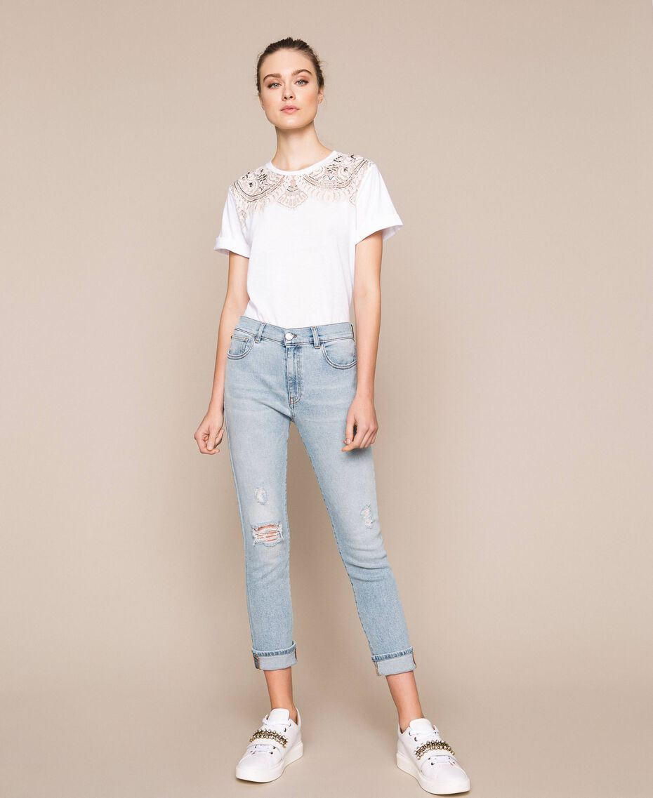 Jeans tomboy con rotture Denim Blue Donna 201MP2274-02