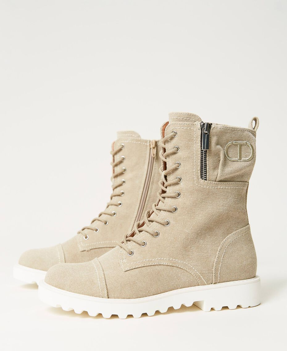 Canvas combat boots with logo Incense Beige Woman 211TCT070-01