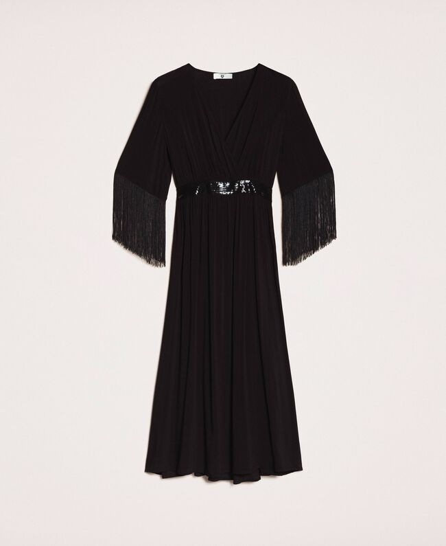 Midi dress with fringes Black Woman 201LB2CKK-0S