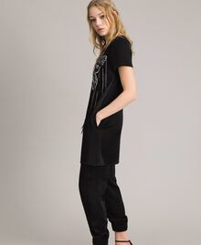 Butterfly embroidery and fringe tunic dress Black Woman 191TP269C-03